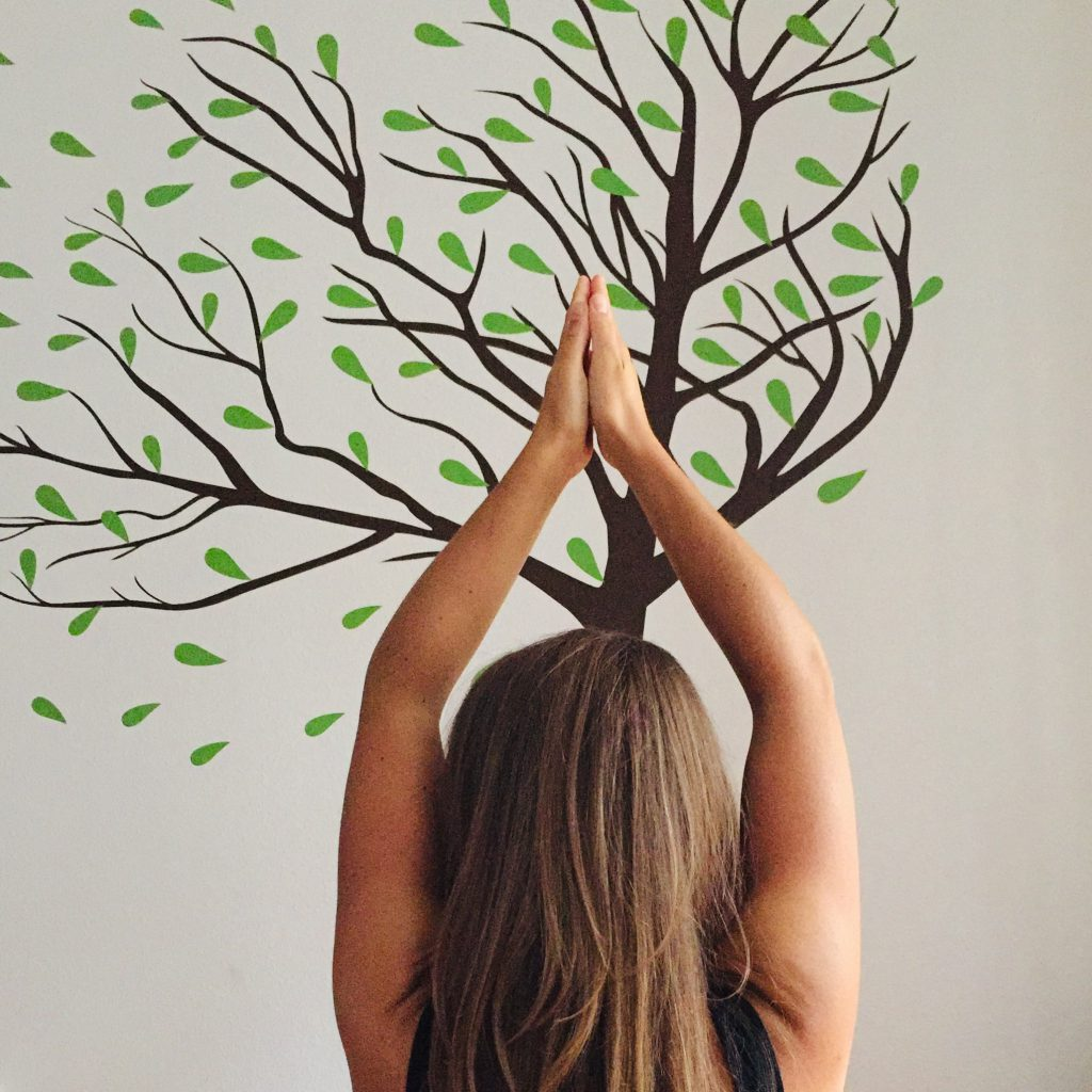 Yoga pose with tree